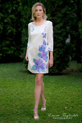 Femme bianco, fiore viola, size 42, pure cotton