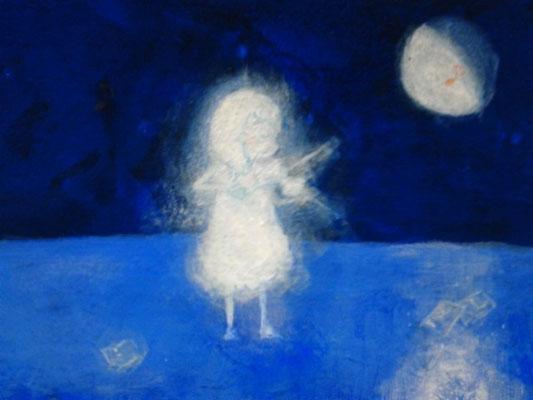 「演奏会~Violin~」(売約済み)水彩紙5.1×7.6cm/アクリル/2011