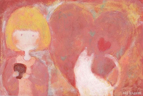 「ホットココア」ハガキ/アクリル/色鉛筆/2011