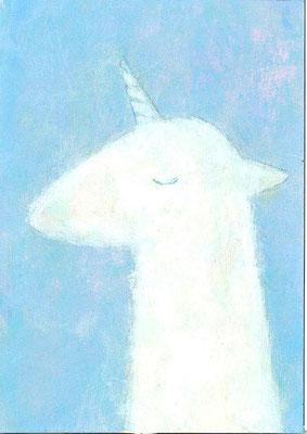 「青の中のユニコーン」(売約済み)水彩紙/アクリル/色鉛筆/7.4×5.cm