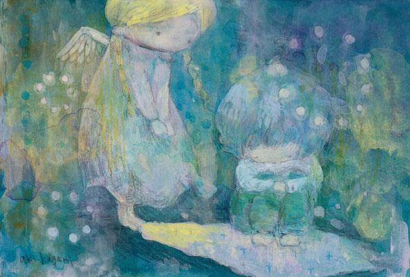 「青い家の男の子」水彩紙/アクリル/ハガキサイズ(ご売約済み)