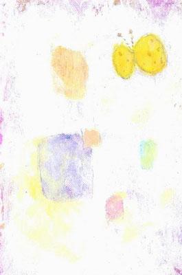 「まんまる蝶々」(売約済み)水彩紙/アクリル/色鉛筆/7.4×5.cm