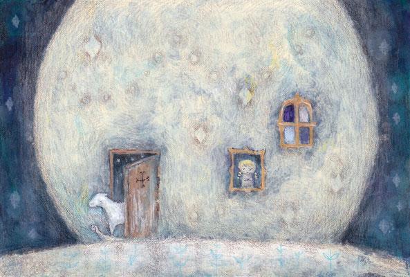 「月は見てるⅡ」水彩紙/アクリル/ハガキサイズ(ご売約済み)