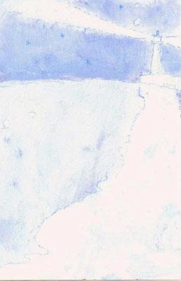 「あの日の灯台」(売約済み)水彩紙/アクリル/色鉛筆/8.2×5.4cm