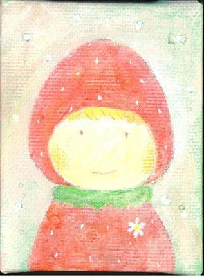 「苺の帽子の女の子」キャンバス/アクリル/8×6cm