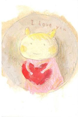 「ハートを持った女の子」(売約済み)水彩紙/アクリル/色鉛筆/直径4.5cm(丸)