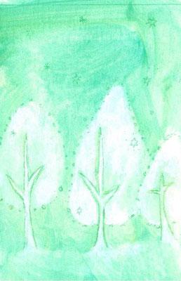「優しい木」(売約済み)水彩紙/アクリル/色鉛筆/8.2×5.4cm