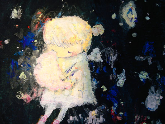 「aki's moon(未完)」(部分)水彩紙/アクリル/ハガキサイズ
