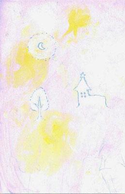 「あの日の教会」(売約済み)水彩紙/アクリル/色鉛筆/8.2×5.4cm