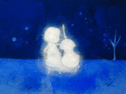 「演奏会~Cello~」(売約済み)水彩紙5.1×7.6cm/アクリル/2011