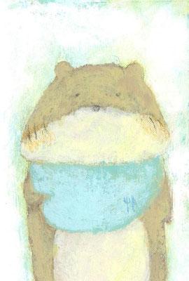 「ベビーくまさん」(売約済み)水彩紙/アクリル/色鉛筆/7.4×5.cm