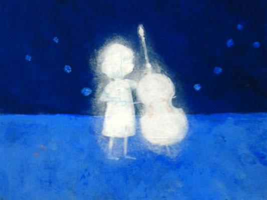 「演奏会~Contrabass~」(売約済み)水彩紙5.1×7.6cm/アクリル/2011