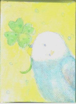 「クローバーとインコさん」キャンバス/アクリル/8×6cm