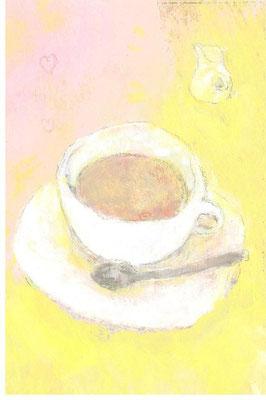 「ミルクティー」水彩紙/アクリル/色鉛筆/7.4×5.cm