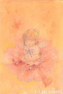 「お花の上のRinoちゃん-for rino-」オーダー作品/水彩紙/アクリル/色鉛筆/ハガキサイズ/オーダー作品
