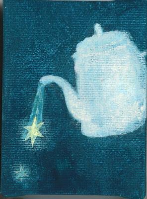 「夜のティータイム」キャンバス/アクリル/8×6cm