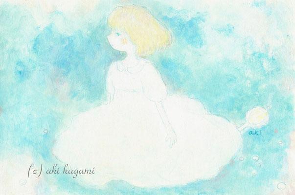 「ふわふわの服の女の子」ハガキサイズ/アクリル/2011