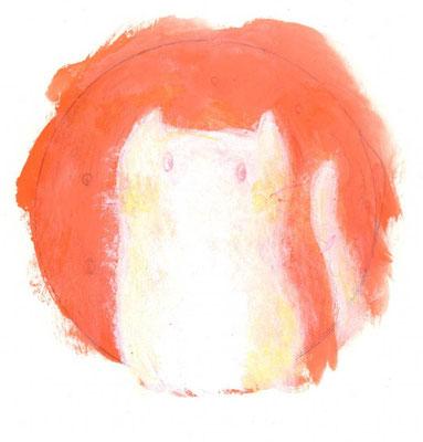 「ネコちゃん」(売約済み)水彩紙/アクリル/色鉛筆/直径4.5cm(丸)