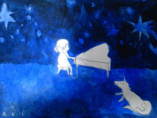 「夜の演奏会」(売約済み)ハガキ/アクリル/2010