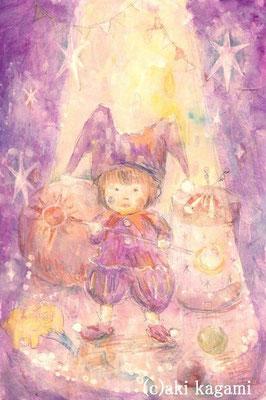 「ピエロになったRinoちゃん」オーダー作品/水彩紙/アクリル/色鉛筆/ハガキサイズ/オーダー作品