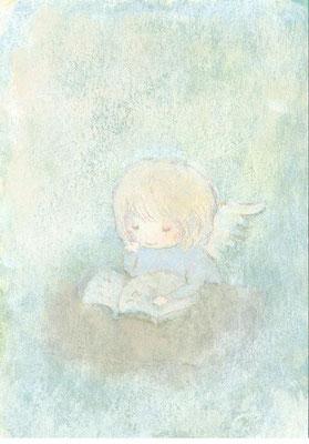 「本を読む天使さん」(売約済み)水彩紙/アクリル/色鉛筆/7.4×5.cm