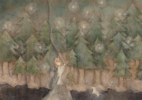 「森のカーテン」水彩紙/アクリル/A4サイズ