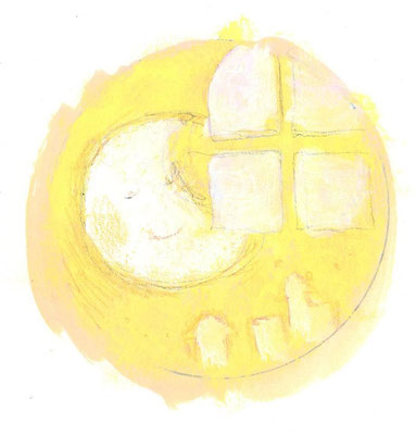 「窓とお月さん」(売約済み)水彩紙/アクリル/色鉛筆/直径4.5cm(丸)
