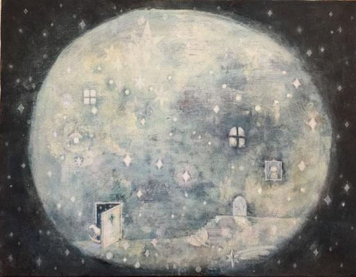 「月は見てるⅢ」キャンバス/アクリル/F4
