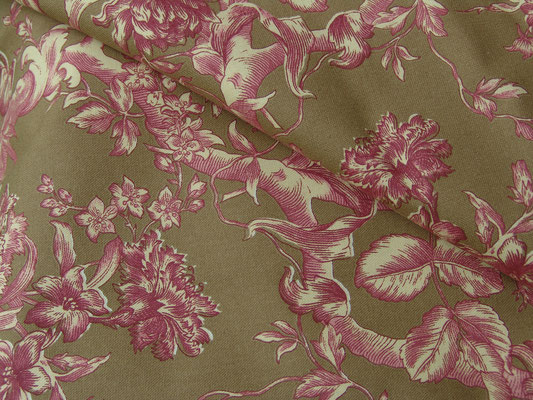 Toile de Jouy, rot auf mocca