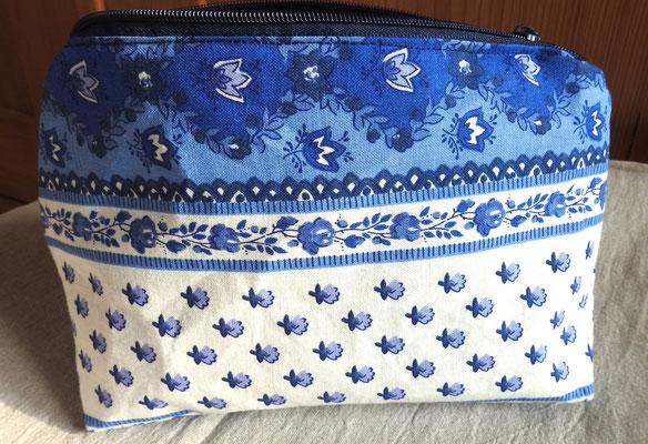Reißverschluss-Täschchen Provence Bordüre blau