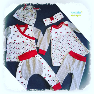 Babygirl Outfit  * 2 Ohrwaschlmütze * Wickelshirt * Mondhose*Stirnband*Kleid*Leggings   Preis je Grösse auf Anfrage