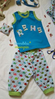 Sommerhose aus Baumwolle * ärmelloses Shirt mit Applikation  * Jersey/Baumwolle    Gr 56 - 104