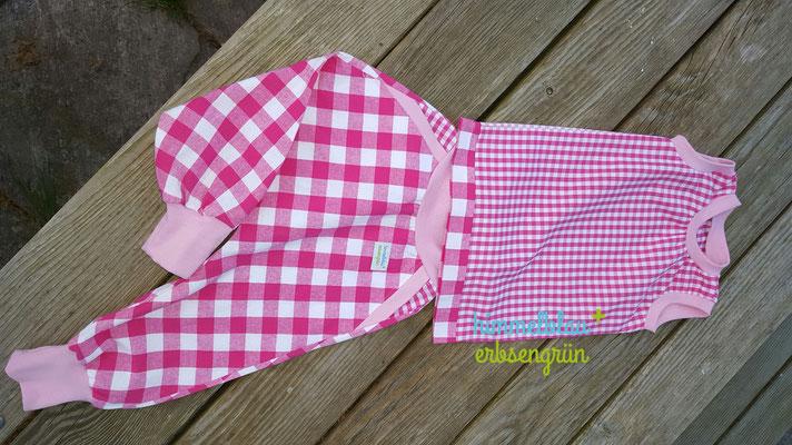 Chekkerhose aus Webware (Baumwolle) * echte Taschen * Passe * viele Gestaltungsmöglichkeiten  +ärmelloses Shirt * Baumwolle   Gr 56- 104         € 40.-