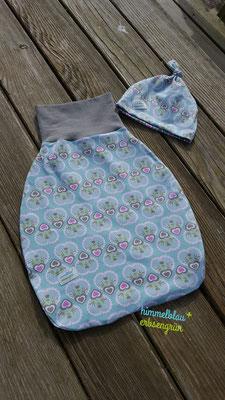 Pucksack  in 2 Größen   ( 0 - 3 Monate oder   3 - 6 Monate )      Außen + Innenstoff Jersey                              € 30.-