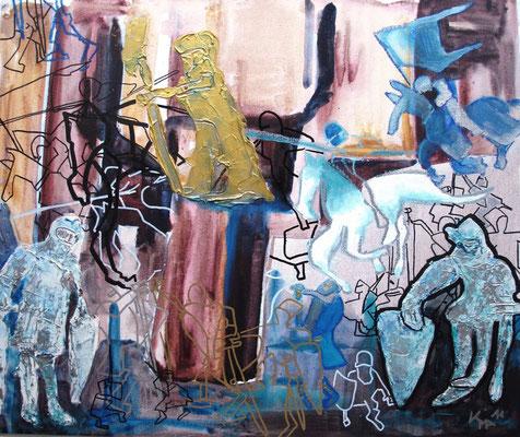 Im Harnisch, 2011, Acryl, Spachtelmasse, Marker, auf Malplatte, 50 x 70cm