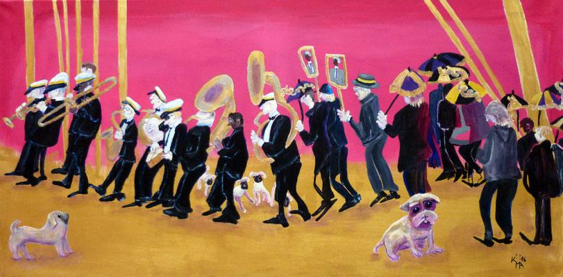 2016, New York, Greenwich Village, Parade, 50 x 100cm, Acryl-Mischtechnik, Leinwand