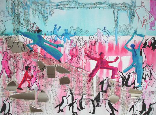 Eiszeit vs. Erdbeereiszeit, 2013, Acryl-Mischtechnik, 60 x 80cm