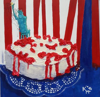 2016, New York Cheesecake, 40 x 40cm, Acryl-Mischtechnik, verkauft