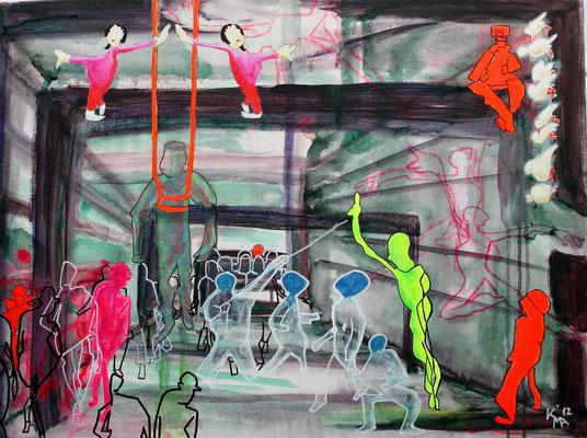 """Kanalisationsparade"", 2012, Acryl Mischtechnik, 60x80cm"