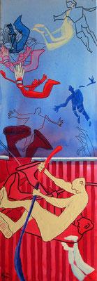 """der freie Fall"", 2012, Acryl Mischtechnik, 35 x 100cm"