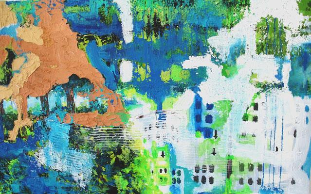 Schlossbaustelle, 2011, Öl, Spachtelmasse, Acryl, 60 x 90cm