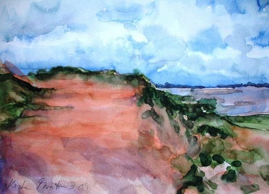 Rotes Kliff auf Sylt, 2009, 24 x 32cm, Aquarell