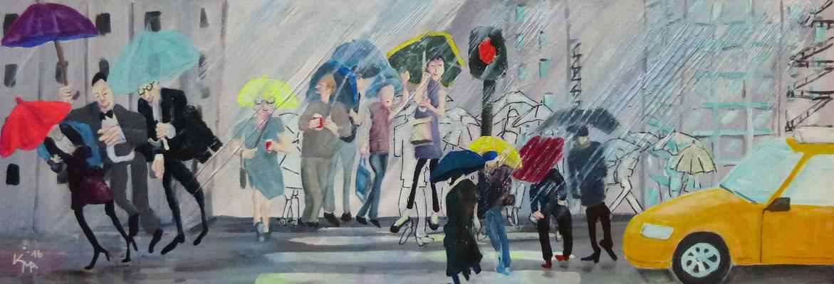 2016, New York im Regen, Acryl-Mischtechnik, Leinwand 35 x 100cm