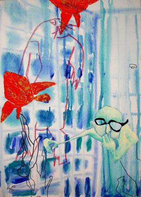 """Badeanstalt links"", 2012, Acryl Mischtechnik, 50 x 70cm"
