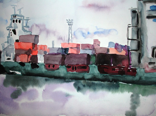 Containerschiff im Hamburger Hafen, 2008, 24 x 32cm ,Aquarell