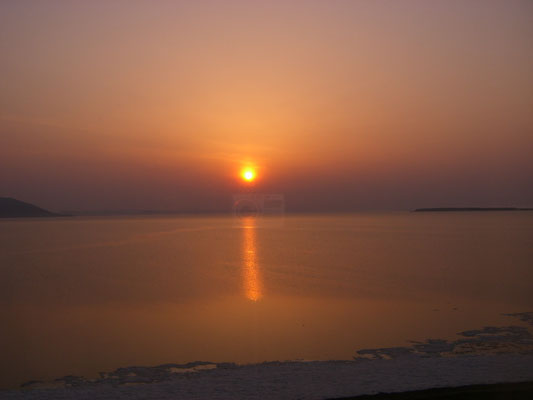 佐呂間町。サロマ湖の夕日