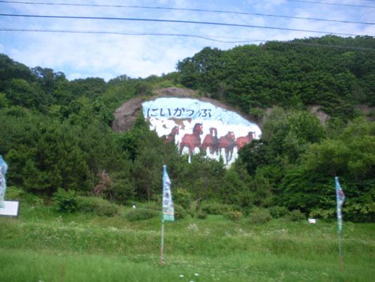 新冠町。山の壁画