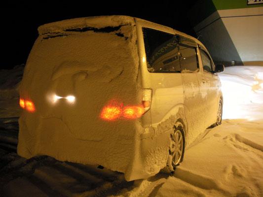枝幸町。道の駅 雪の中を走り続けるとこうなります