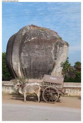 Taxi á la Mingun. Der Watz hintendran ist übrigens das Hinterteil eines ehemaligen Löwen-Chintes (=Tempelwächter).