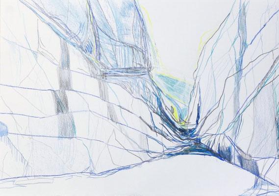 Gletscher 10 | 2018 | Bleistift, Farbstift auf Papier | 35 x 50 cm